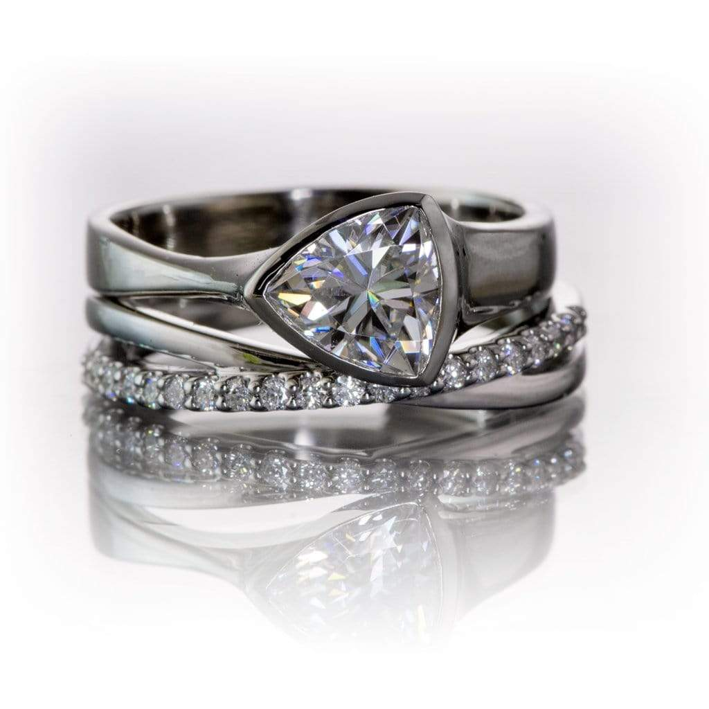 Criss Cross Band Contoured Wedding Ring With Diamonds Moissanites