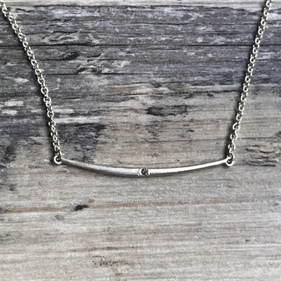 Curved Bar Pendant Necklace with Gray Diamond Sterling Silver Chain, Ready to Ship