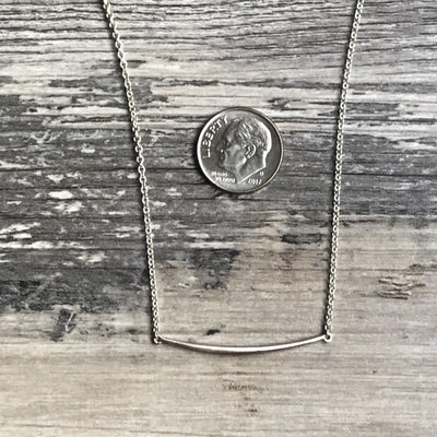 Simple Curved Bar Pendant Necklace with Sterling Chain, Ready to Ship