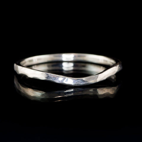 Contoured Curved Skinny Hammered Texture Thin Wedding Band