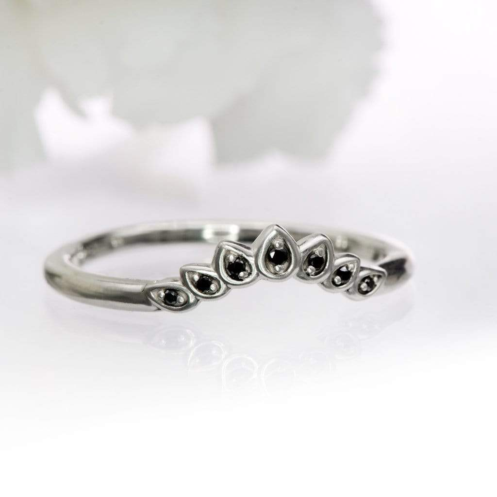 Petal Band - Contoured Black Diamond Sterling Silver Stacking Wedding Ring, Ready to Ship