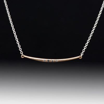 Curved 14k Rose Gold Bar Pendant Necklace with Gray Diamonds & Sterling Silver Chain, Ready to Ship