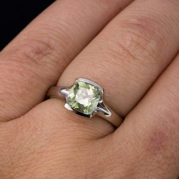 Cushion Green Fair Trade Montana Sapphire Fold Half Bezel Engagement Ring