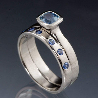 Random Blue Sapphire Wedding Ring - by Nodeform