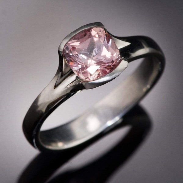Cushion Cut Chatham Champagne Pink Sapphire Fold Solitaire Engagement Ring