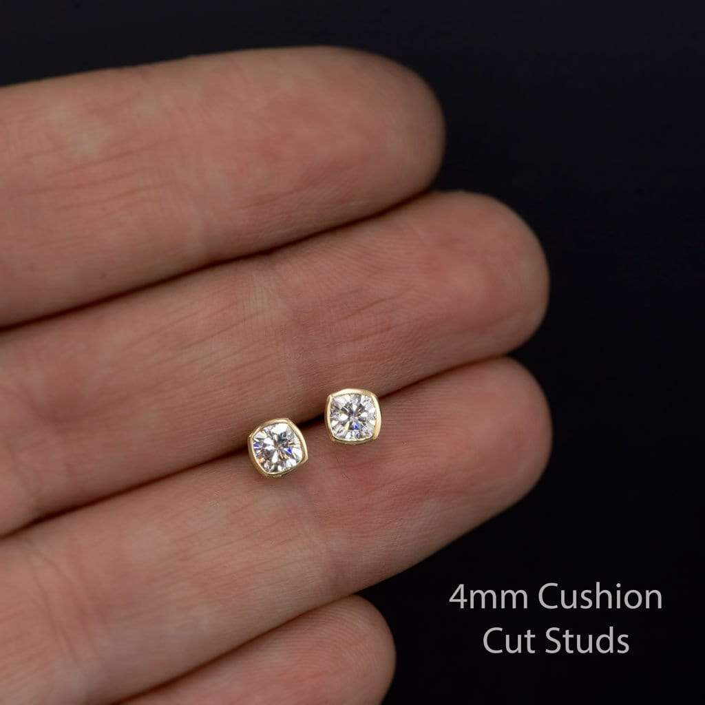 Lovely Cushion Cut Moissanite Bezel Stud Earrings OT66