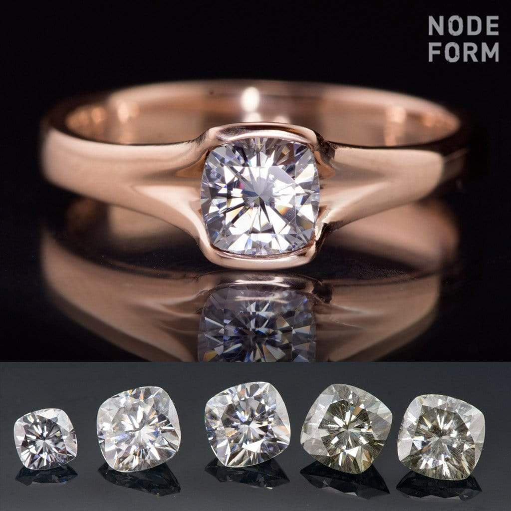 Gray Cushion Cut Moissanite Fold Semi-Bezel Set Solitaire Engagement Ring - by Nodeform