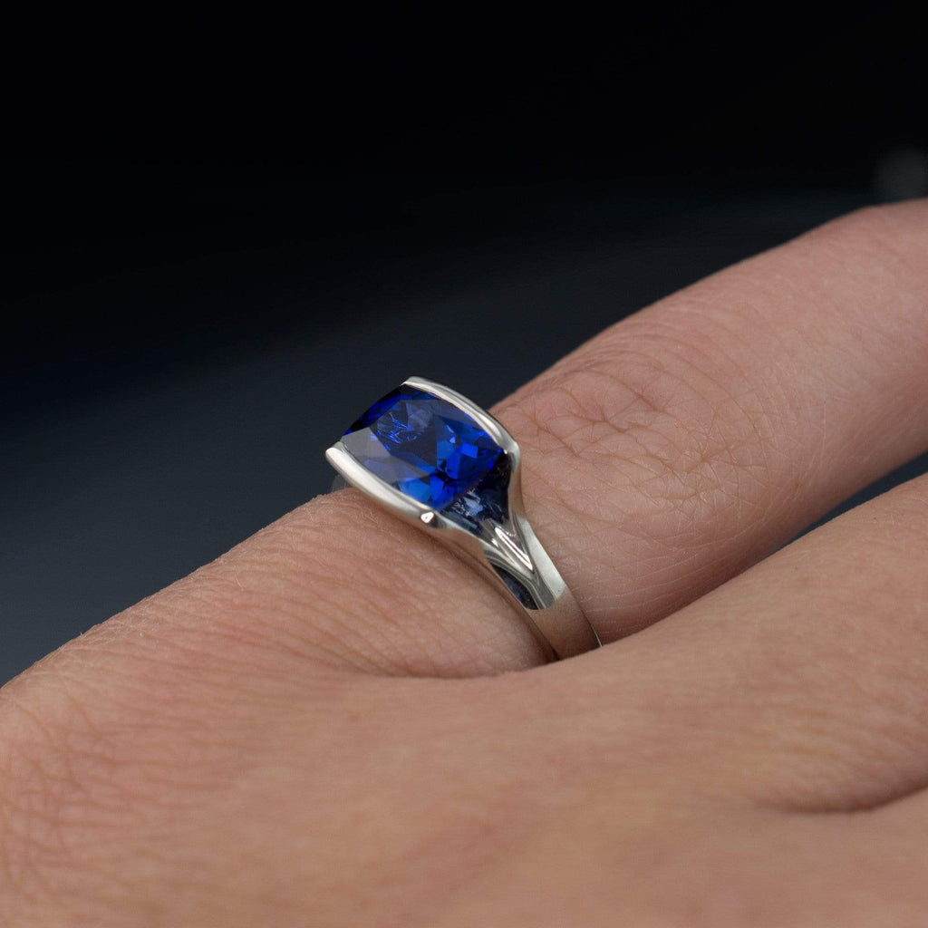 Lab Created Cushion Blue Sapphire Fold Solitaire