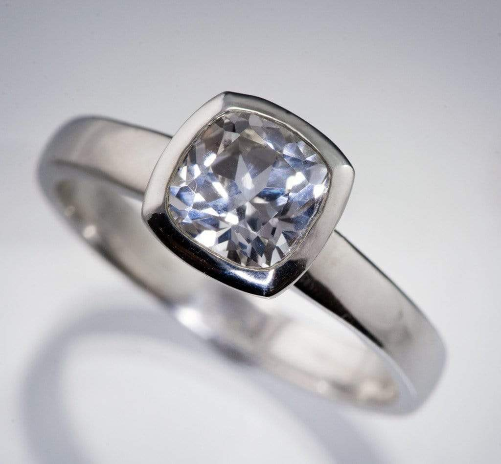 Lab Created Cushion White Sapphire Bezel Solitaire Engagement Ring  By  Nodeform