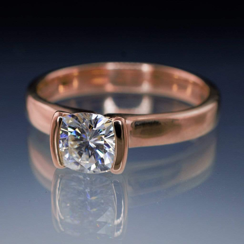 Cushion Moissanite Ring Modified Tension Solitaire Rose Gold Engagement Ring   By Nodeform