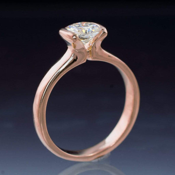 Cushion Moissanite Ring Modified Tension Solitaire Rose Gold Engagement Ring