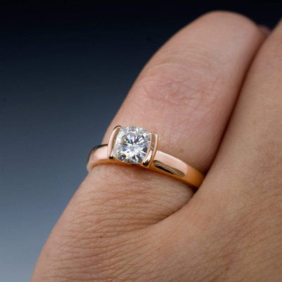 Cushion Moissanite Ring Modified Tension Solitaire Rose Gold Engagement Ring - by Nodeform