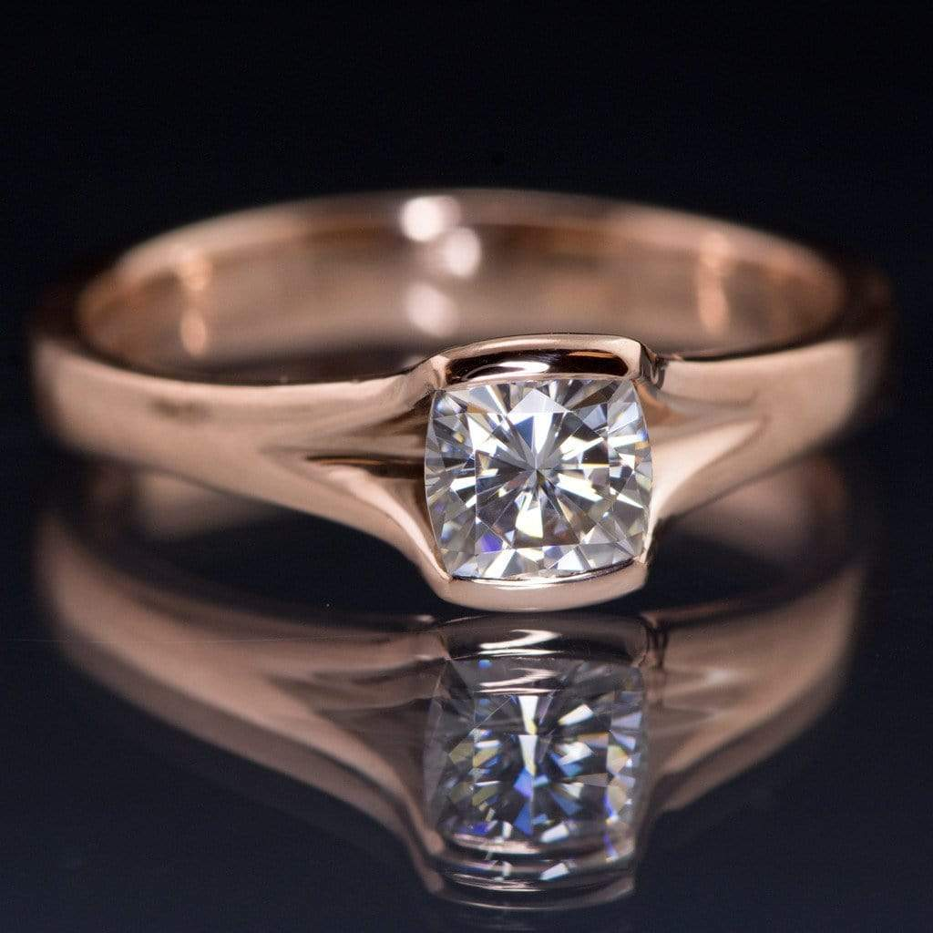 Cushion Cut Moissanite Fold Semibezel Rose Gold Solitaire Engagement Ring   By Nodeform