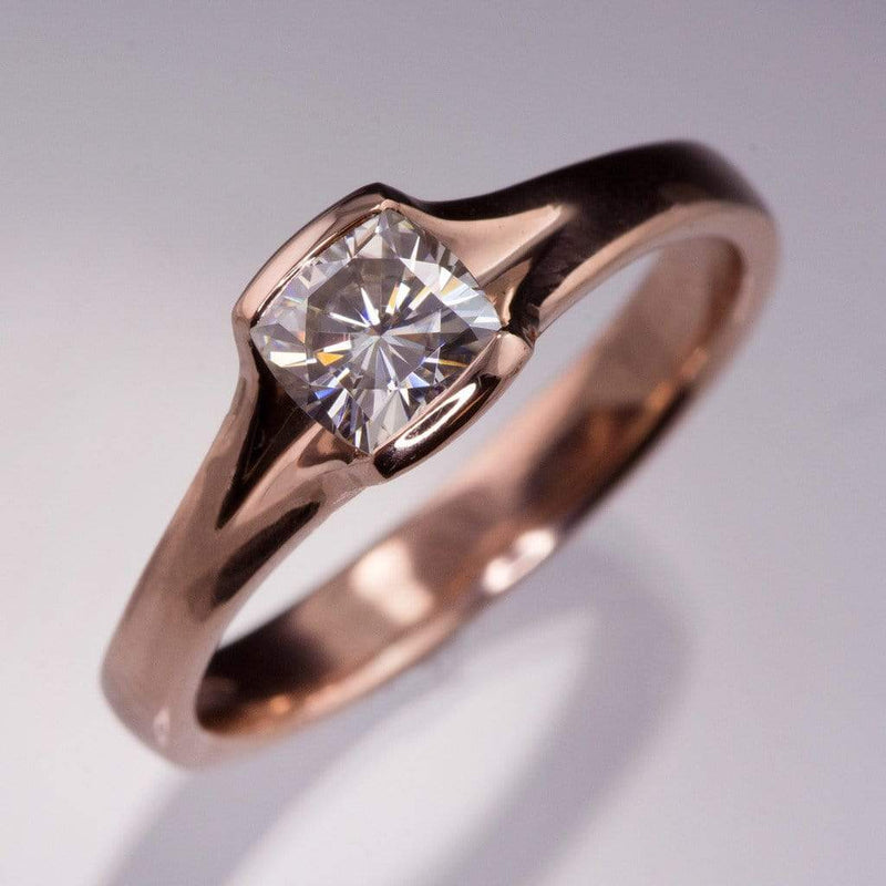 Cushion Cut Moissanite Fold Semi-Bezel Rose Gold Solitaire Engagement Ring