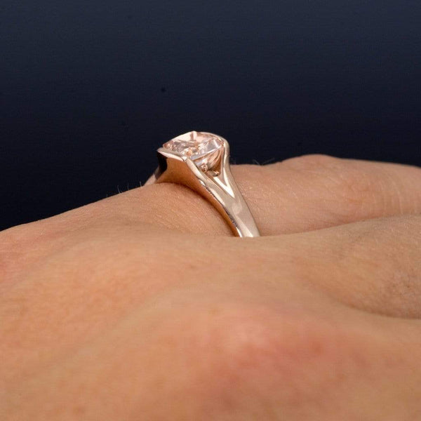 Cushion Cut Morganite Fold Solitaire Engagement Ring