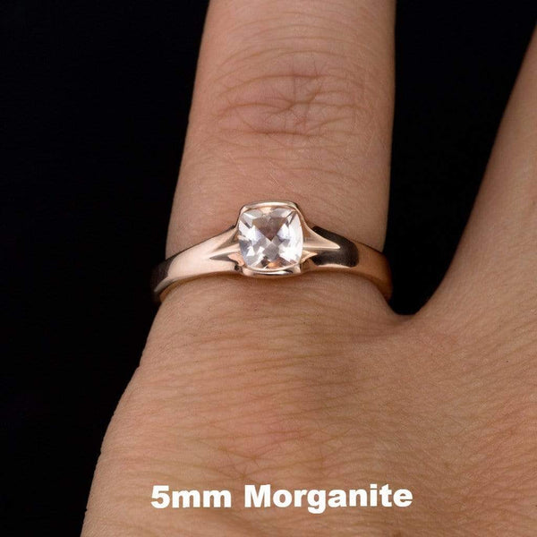 Cushion Cut Morganite Fold Solitaire Engagement Ring - by Nodeform