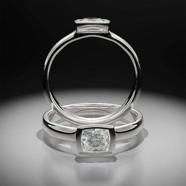 Custom Order Cushion Cut 0.5ct Diamond Bezel Set Low Profile Solitaire Engagement Ring - by Nodeform