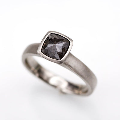 Cushion Dark Gray 0.52ct Rose Cut S&P Diamond Palladium Bezel Solitaire Engagement Ring, Ready to size 3.5 to 8