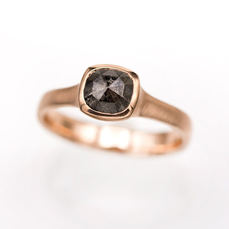 Cushion Dark Gray 1.1ct Rose Cut S&P Diamond Rose Gold Bezel Solitaire Engagement Ring, Ready to size 4 to 9