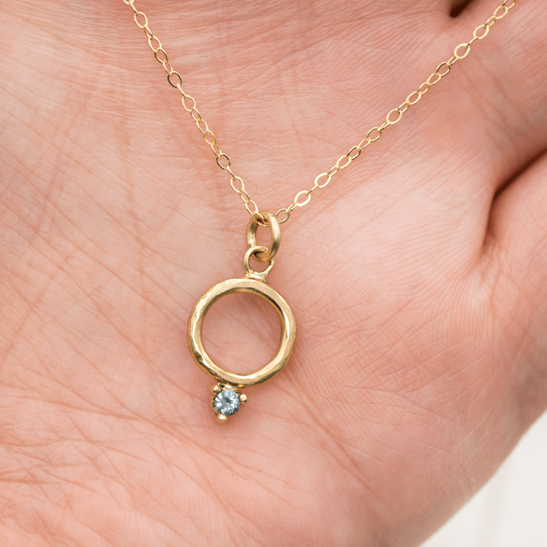 Gold circle pendant necklace with prong set Montana Sapphire {Ready To Ship} - Nodeform