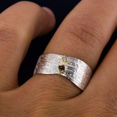 Burnt Orange and white Diamond Wood Grain Ring in Sterling Silver, size 7.5 to 8 - by Nodeform