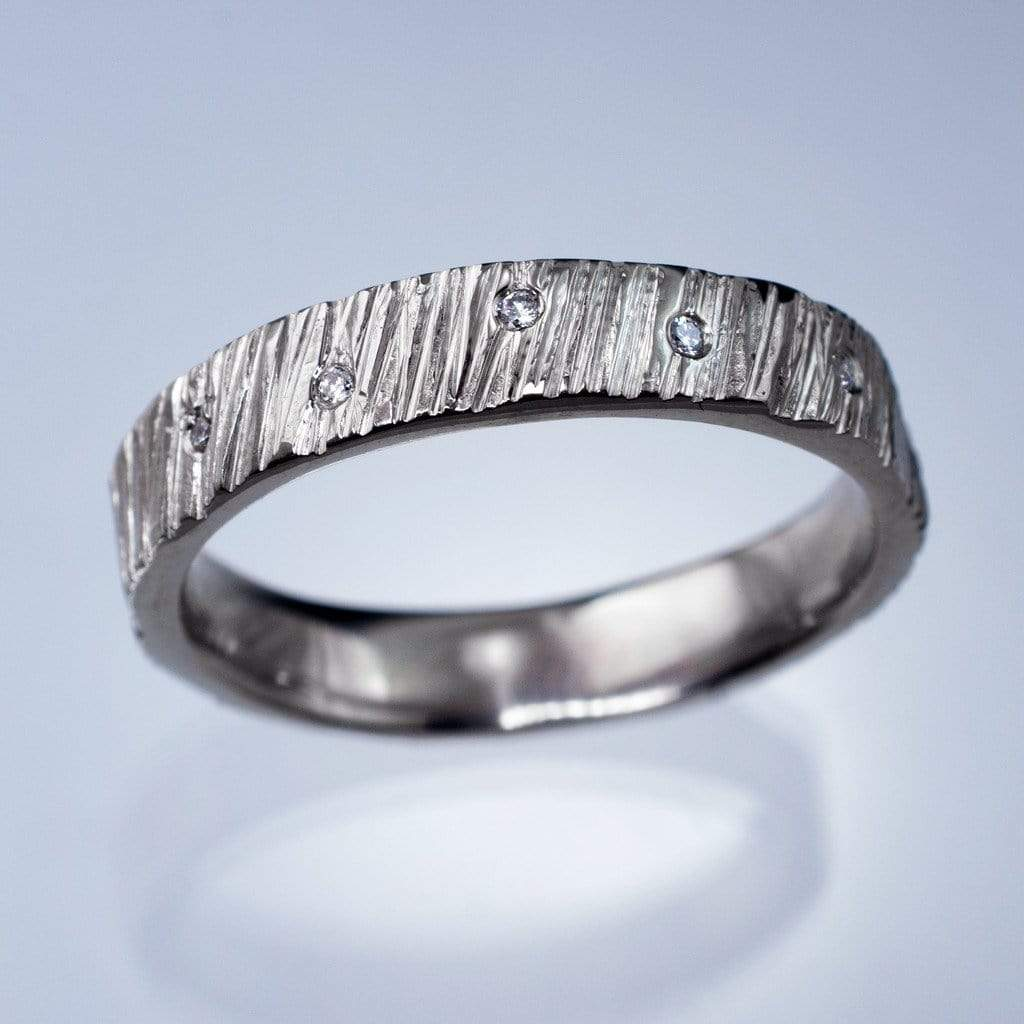 saw cut texture wedding band with diamond accents ready