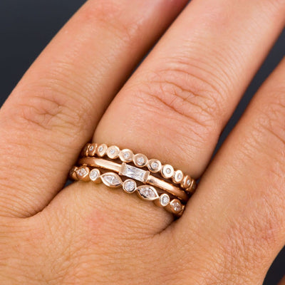 Baguette Moissanite Rose Gold Stacking Promise Ring, Ready to Ship size 5-8