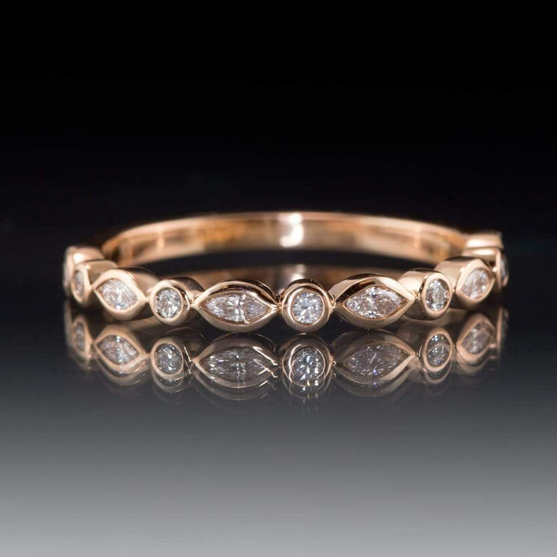 1/4CTW Diamond or Sapphire Bezel Set Marquise Stacking Half Eternity Anniversary Ring - by Nodeform