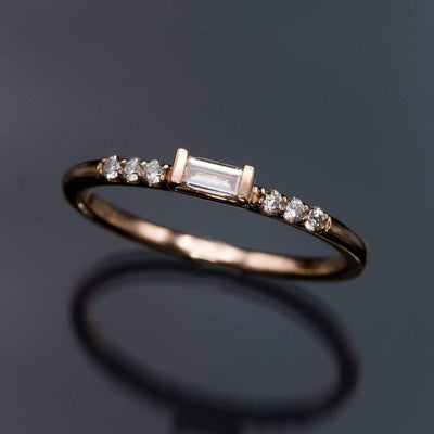 Baguette Diamond Accented Stacking Promise Ring