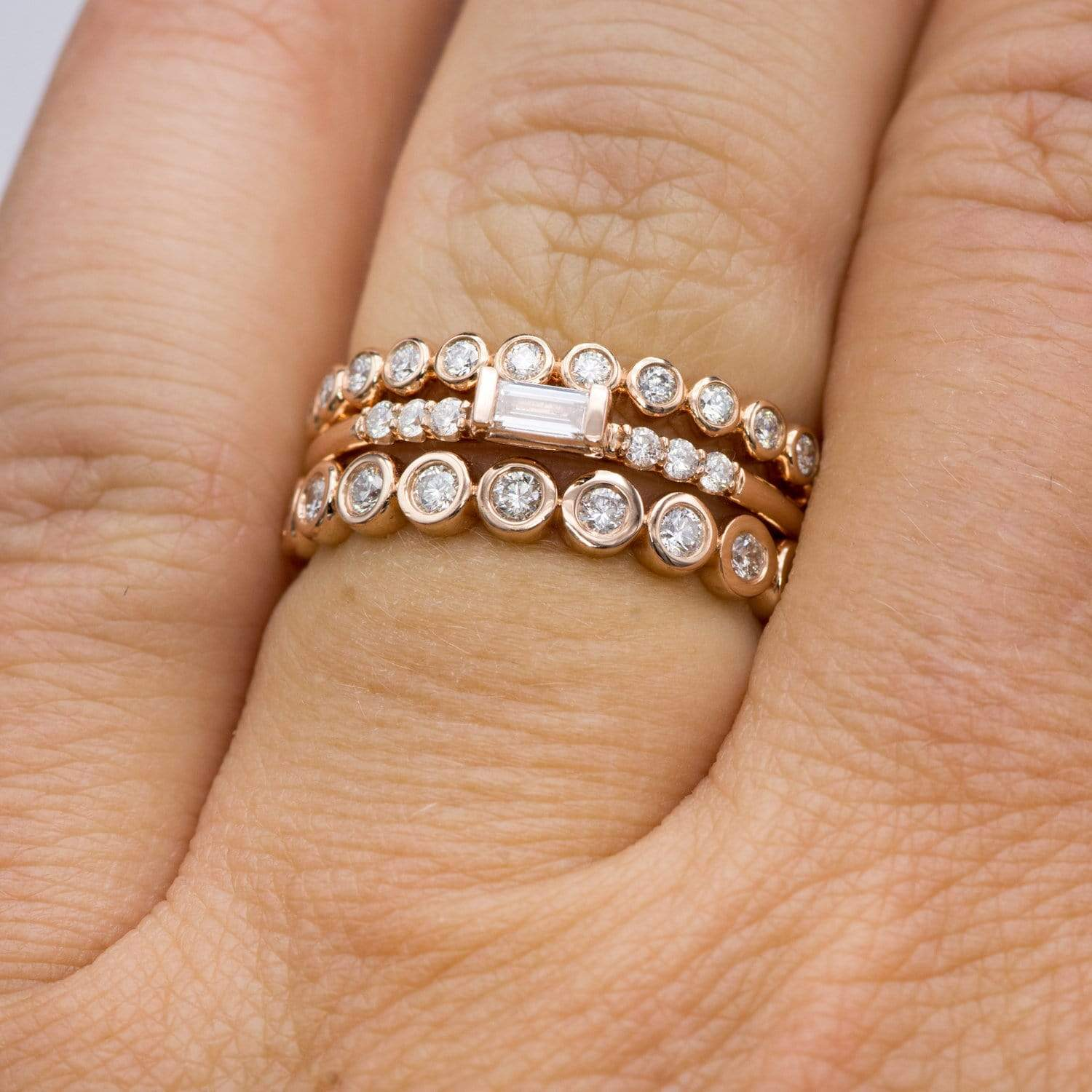 Betty Anniversary Band Bezel Set Diamond Half Eternity Stacking Wedd