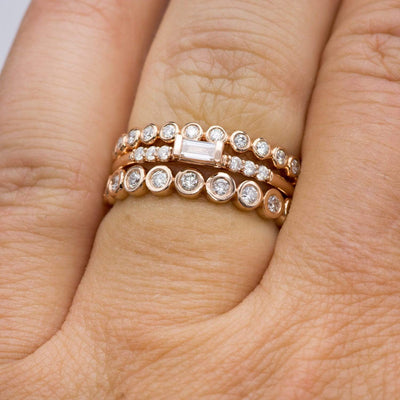 Betty Anniversary Band - Bezel Set Diamond Half Eternity Stacking Wedding Ring