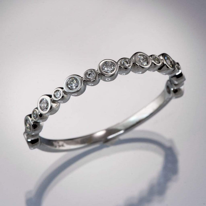 Brigid Anniversary Band Bezel Set Diamond Half Eternity Stacking Wedding Ring - by Nodeform