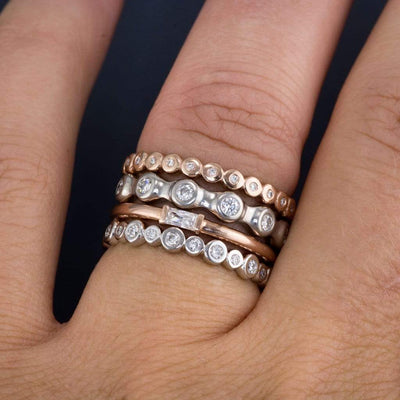 Bree Anniversary Band - Bezel Set Diamond Eternity Stacking Ring Wedding Band - by Nodeform
