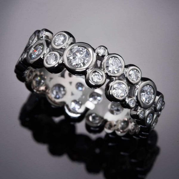 Diamond Cluster Wedding Eternity Band Ring