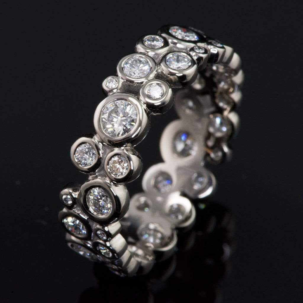 Moissanite Cluster Eternity Wedding Band Ring - by Nodeform