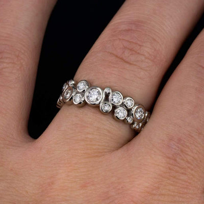 Diamond Cluster Wedding Eternity Band Ring - by Nodeform