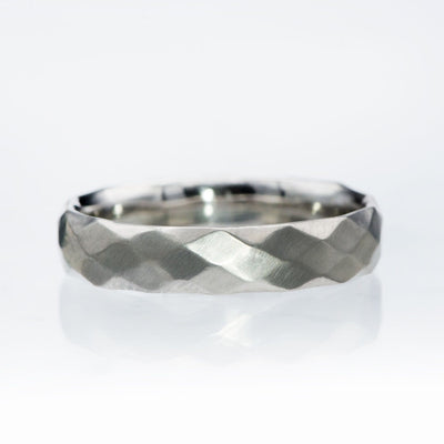 Wide Diamond Facet Texture Wedding Band