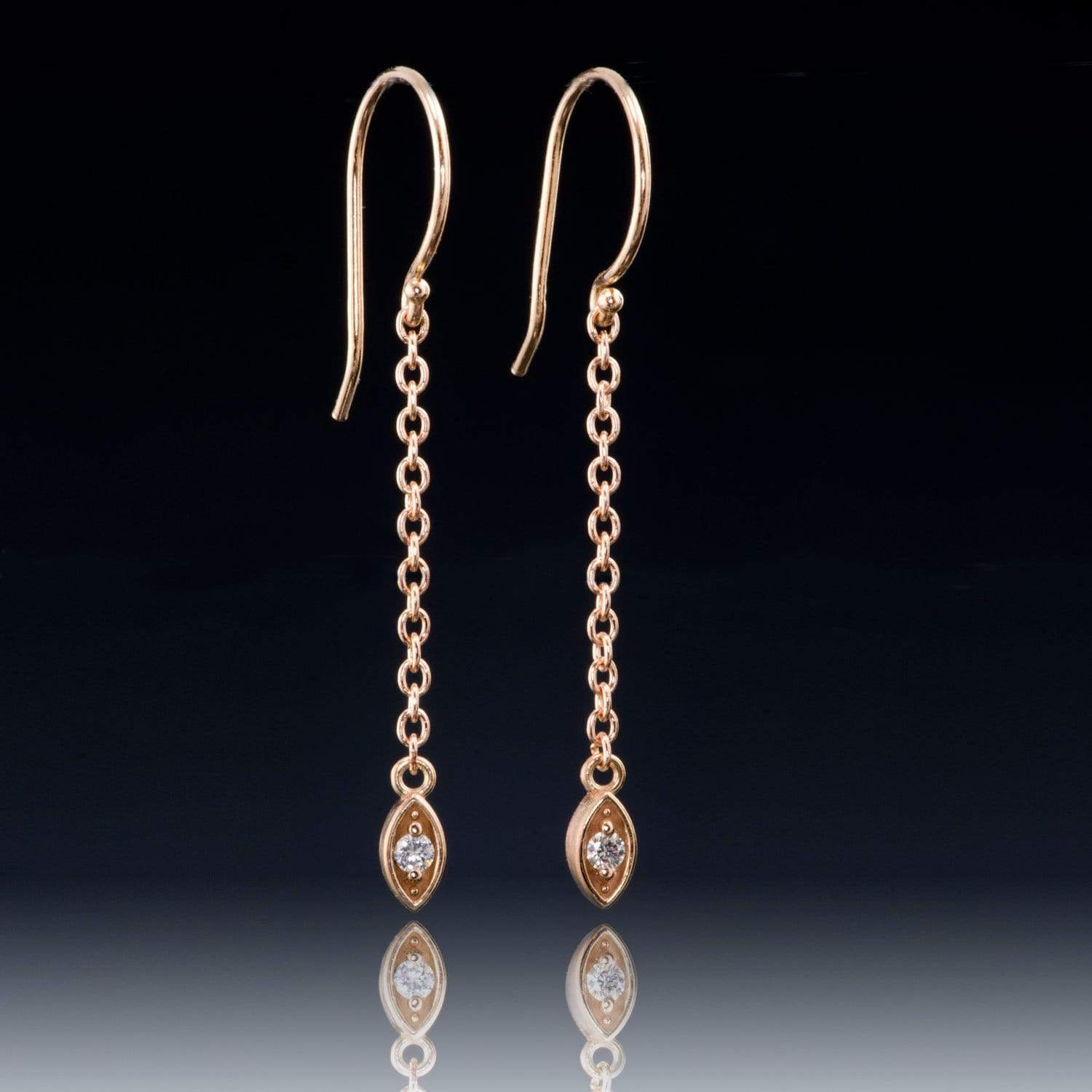 Diamond & Rose Gold Marquise Shape Long Dangle Earrings, ready to ship