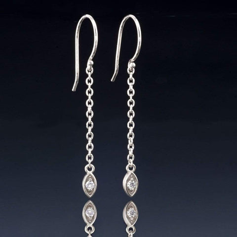 Diamond Marquise Shape Long Dangle Earrings