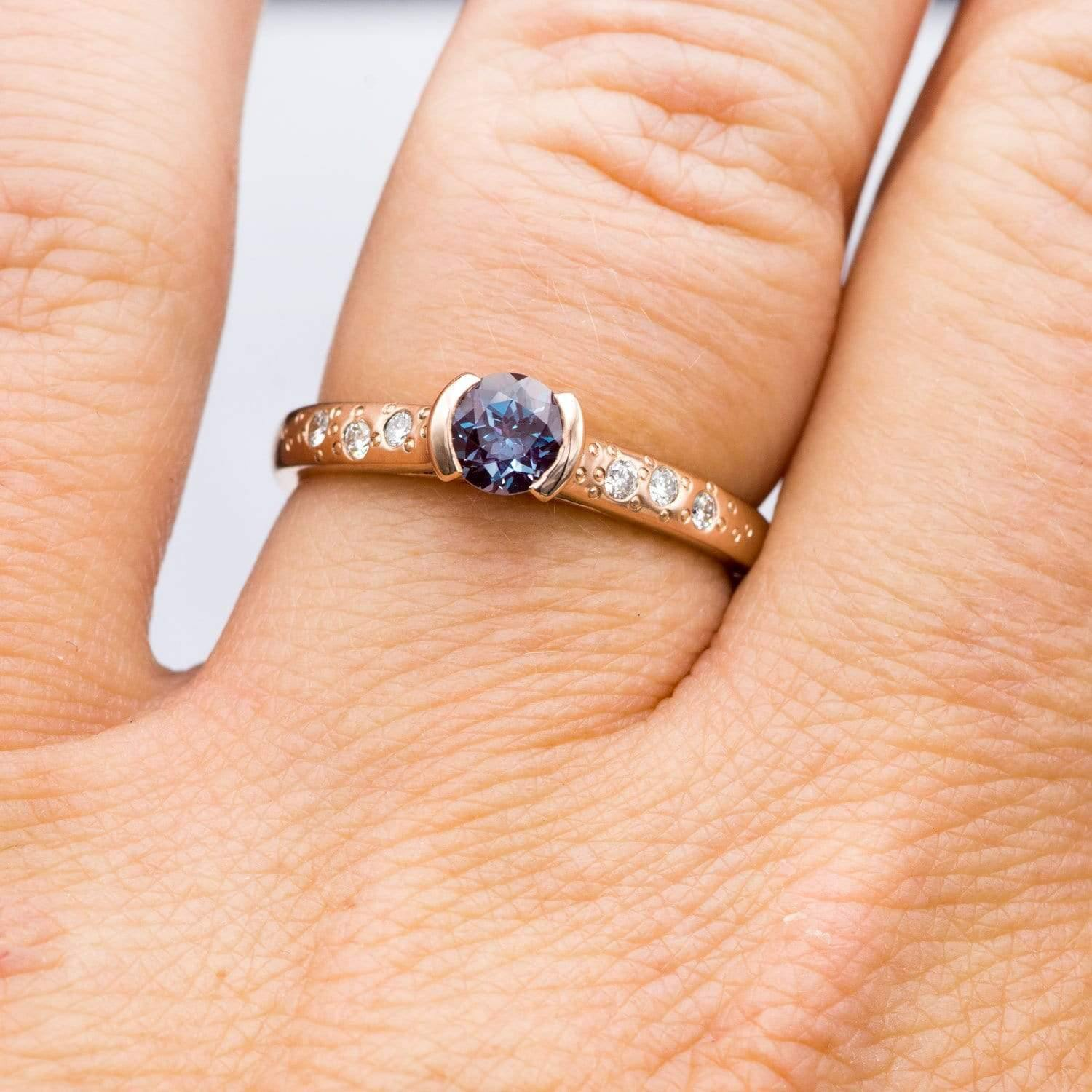 Alexandrite Half Bezel Diamond Star Dust Rose Gold Engagement Ring