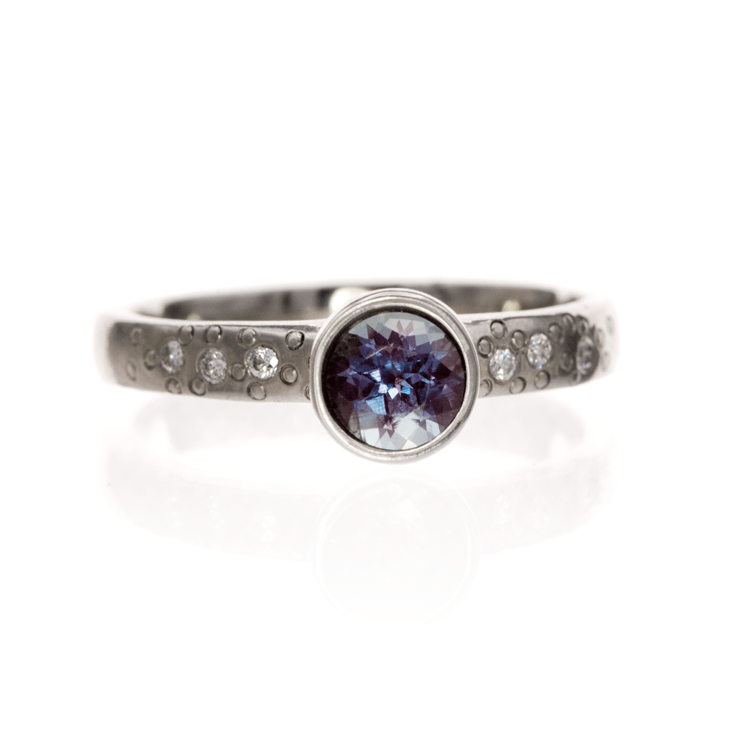 Chatham Alexandrite Elevated Bezel Diamond Star Dust Palladium Engagement Ring, Ready to Ship, SIZE 5.5-8