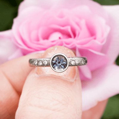 Chatham Alexandrite Elevated Bezel Diamond Star Dust Palladium Engagement Ring, Ready to Ship, SIZE 5-8