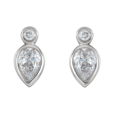1/3 CTW Pear Diamond Bezel Set Stud Earrings - by Nodeform