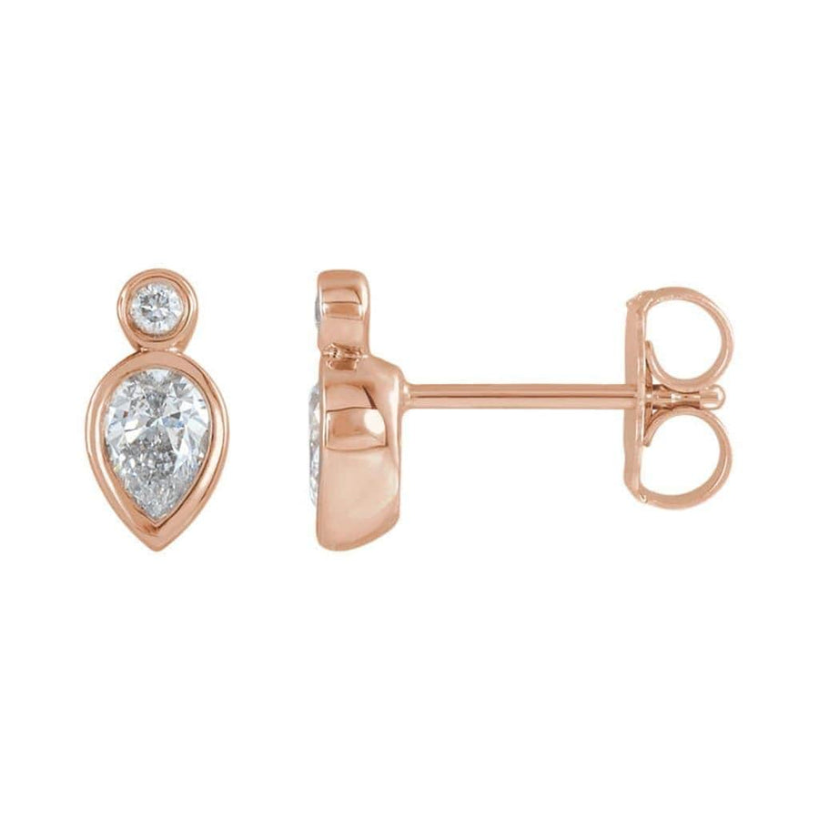 1/3 CTW Pear Diamond Bezel Set Stud Earrings