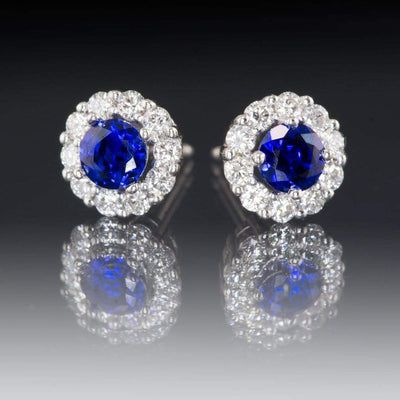 Chatham Created Blue Sapphire and 3/8 CTW Diamond Stud Earrings - by Nodeform