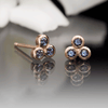 Chatham Alexandrite Trio Bezel Cluster Stud Earrings 14k Rose Gold Earrings