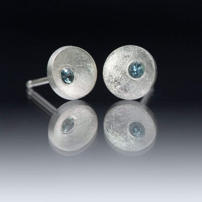 Small Concave Round Simple Blue Montana Sapphire Sterling Silver Studs Earrings