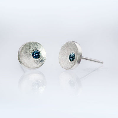 Small Concave Round Simple Blue to Green Montana Sapphire Sterling Silver Studs Earrings