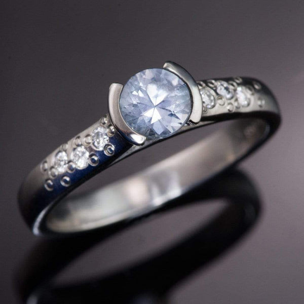 Blue/Green Eldorado Bar Montana Sapphire Half Bezel Star Dust Gold Engagement Ring