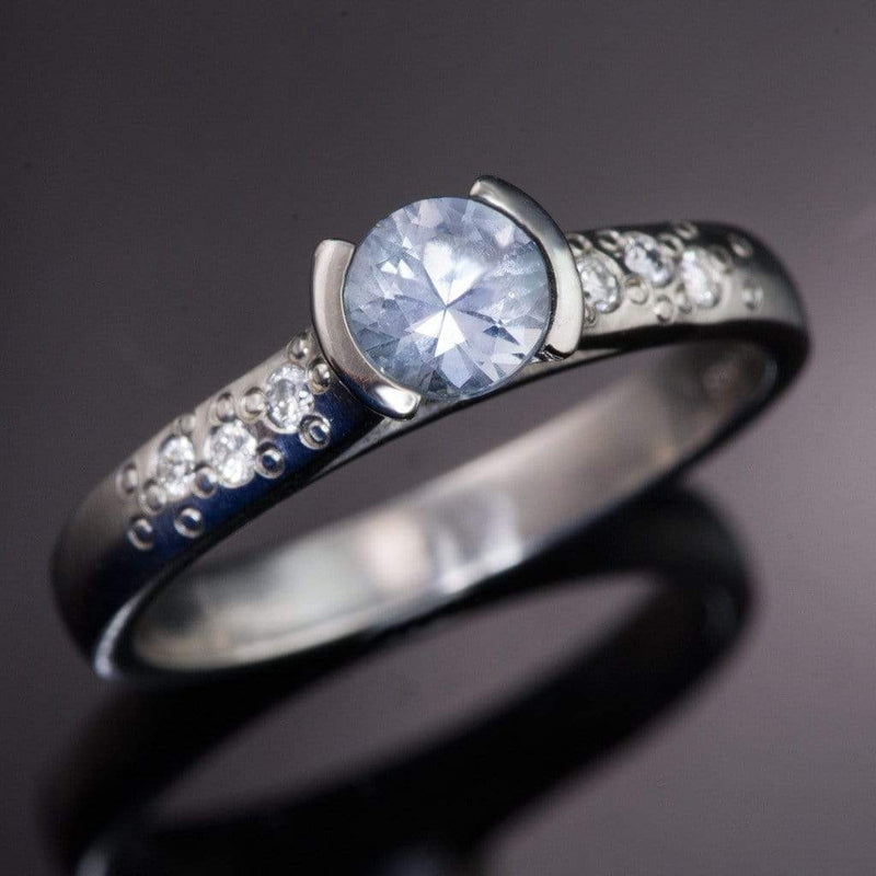 Blue to Green Eldorado Bar Montana Sapphire Half Bezel Star Dust Engagement Ring